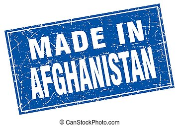 Afghanistan blue square grunge made in stamp
