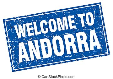 Andorra blue square grunge welcome to stamp