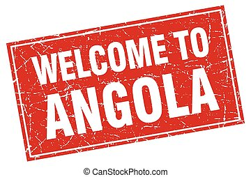 Angola red square grunge welcome to stamp