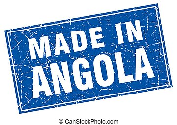 Angola blue square grunge made in stamp