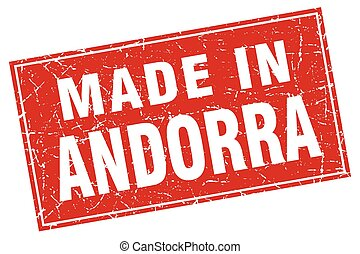 Andorra red square grunge made in stamp