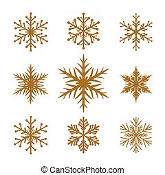 Collection of Golden Snowflakes.