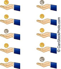 Businessman hand with coins - Vector illustration of a...