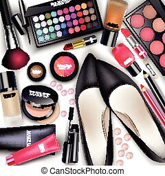 Sets of cosmetics - Illustration of Sets of cosmetics on...