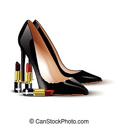Black lady shoes and lipstick