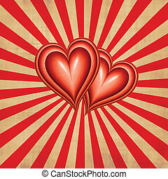 two hearts together on textured beam style background