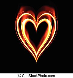 heart on fire to symbolise burning passion and love