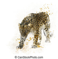 Digital Painting of Leopard - Digital Painting of Walking...