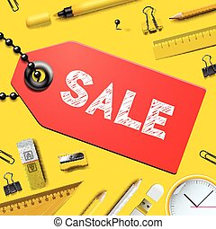 Back to school SALE background, with realistic supplies,...