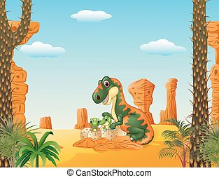 Mother tyrannosaurus with baby - Vector illustration of...