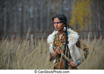hermoso, norteamericano, estilo, indios, niña