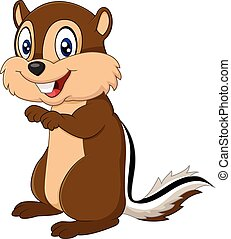 Cute squirrel posing isolated - Vector illustration of Cute...