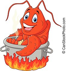 Cartoon funny lobster being cooked - Vector illustration of...