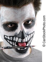 Murderer skeleton guy with a bloody knife - portrait of a...