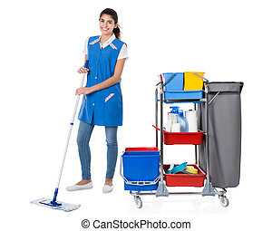 Happy Female Janitor Mopping By Trolley On White Background...