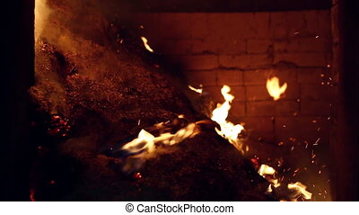 Burning of industrial waste in wood production - View on...
