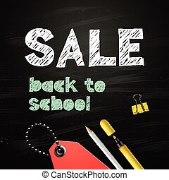 Back to school SALE design on blackboard background, vector illustration.