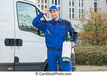 Confident Pest Control Worker Wearing Cap - Portrait of...