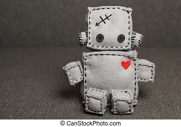 Robot Soft Toy. - Robot With Heart. Macro Soft Toy at...