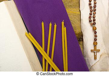 usato, stoffa, viola, Candele, religione, magro