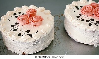 cake with roses in a candy store