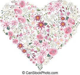 Summer flowers - heart  with pink and red flowers on white