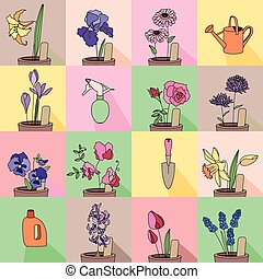 Seamless pattern with growing flowers in pots Endless...