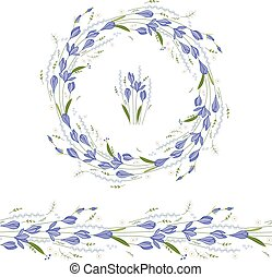 Floral round garland and endless pattern brush made of blue...