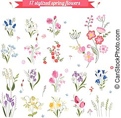 Collection of different stylized spring flowers. Cute floral...