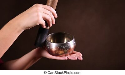 Small Tibetan singing bowl - A small Tibetan singing bowl...