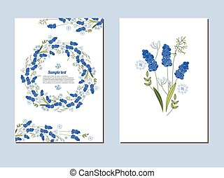 Floral spring templates with cute bunches of muscari -...