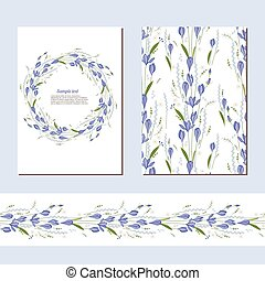 Floral spring templates with cute bunches of crocus - Floral...