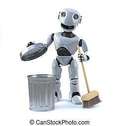 3d Robot cleans up the mess with his broom and bin - 3d...