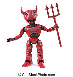 3d Devil robot with horns and trident - 3d render of a red...