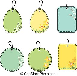 Set with floral easter tags