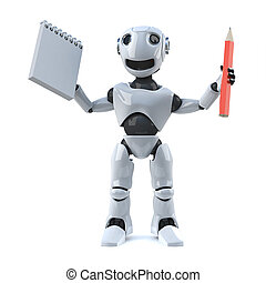 3d Robot has a pencil and notepad to take notes - 3d render...