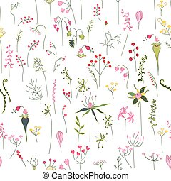 Seamless pretty pattern with stylized forest flowers and...