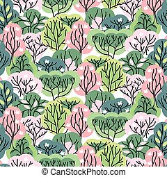 Seamless pretty pattern with stylized trees