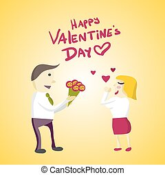 Man Manager gives flowers woman on Valentine's Day. Flat isolated vector illustration