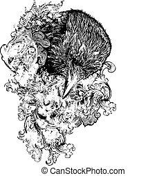 vector, floral, cuervo, Ilustración