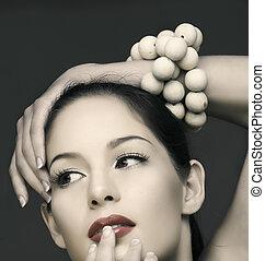 vinatge beautiful woman - beautiful brunette woman with...