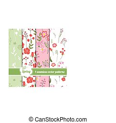 Collection of seamless patterns with stylized cute roses and...