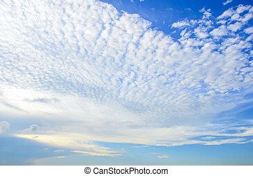 azul, nubes, cielo, Plano de fondo