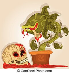 Carnivorous plant and human skull. - Vector illustration of...