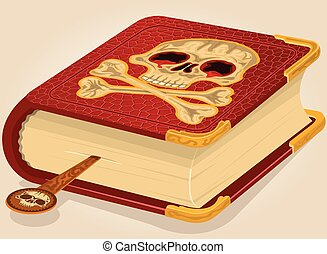 Skull horror book - Vector illustration of a bloody skull...