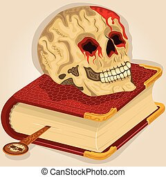 Skull on a book - Vector illustration of a bloody human...
