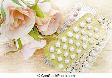 oral, anticonceptivo, píldora, tiras, en, pino,...