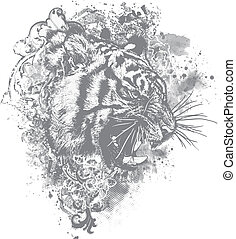 Vector Grunge Tiger Floral Illustra - Great for backgrounds,...