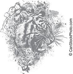 Vector Grunge Tiger Floral Illustra