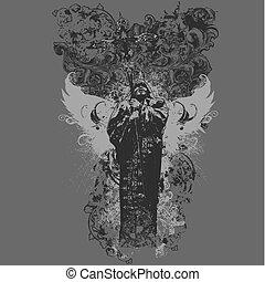 vettore, divinità, abbigliamento, disegno